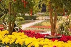 Decoración floral y de la linterna en jardín Imagen de archivo libre de regalías
