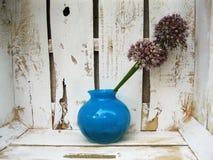 Decoración. Florero azul con los brotes decorativos del arco Foto de archivo