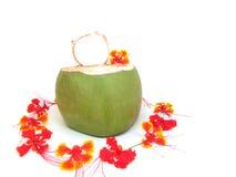Decoración fresca de la bebida del coco con las flores Fotos de archivo libres de regalías