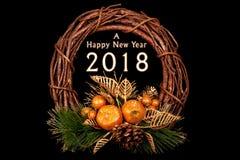 Decoración hecha a mano de la Feliz Año Nuevo con el eleme chispeante natural Foto de archivo libre de regalías
