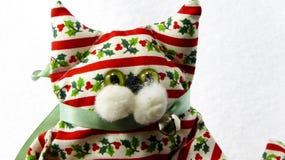 Decoración hecha a mano del gato de la Navidad Fotografía de archivo