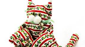 Decoración hecha a mano del gato de la Navidad Imagen de archivo