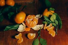Decoración hermosa de la Navidad con las mandarinas en las guirnaldas de la luz de la noche Todavía de la fruta cítrica vida El s Foto de archivo