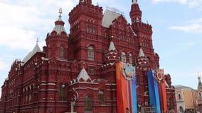 Decoración histórica de Victory Day del museo del estado Plaza Roja, Moscú, Rusia almacen de metraje de vídeo