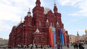 Decoración histórica de Victory Day del museo del estado Plaza Roja, Moscú, Rusia metrajes