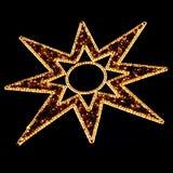 Decoración iluminada de la estrella de la Navidad en negro Fotografía de archivo