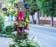 Decoración inusual de las camas de flor de la calle fotografía de archivo