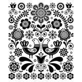 Decoración linda escandinava del vector del arte popular con los pájaros y las flores, estampado de flores blanco y negro de la m Imagenes de archivo