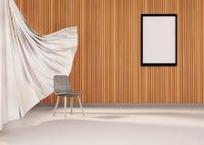 Decoración mínima del sitio del estudio más silla y marco Imagen de archivo