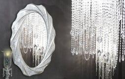 Decoración moderna de los strass del espejo oval cristalino de la lámpara Fotografía de archivo libre de regalías