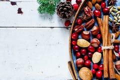 Decoración natural de la Navidad Foto de archivo libre de regalías