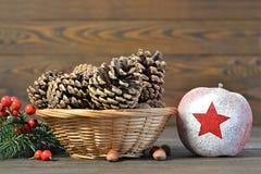 Decoración natural de la Navidad Foto de archivo