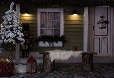 Decoración oscura del Año Nuevo con el árbol de navidad Foto de archivo