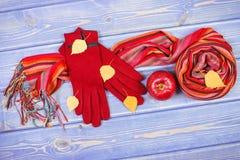 Decoración otoñal, guantes y mantón de lana para la mujer, ropa para el otoño o invierno Imagen de archivo