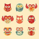 Decoración Owl Set del vintage Fotografía de archivo