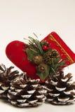 Decoración Papá Noel de la Navidad y zapato del cono del pino Fondo blanco Fotografía de archivo libre de regalías