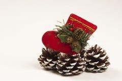 Decoración Papá Noel de la Navidad y zapato del cono del pino Fondo blanco Imagen de archivo libre de regalías