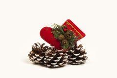 Decoración Papá Noel de la Navidad y zapato del cono del pino Fondo blanco Fotos de archivo