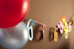 Decoración para el sexto cumpleaños Imagen de archivo