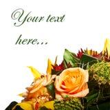 Decoración para la tarjeta de felicitación de las rosas de té fotos de archivo