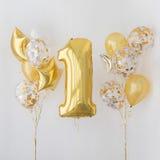 Decoración por 1 año de cumpleaños, aniversario imagen de archivo libre de regalías