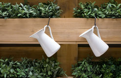 Decoración que cultiva un huerto del florero y de los estantes de madera Imágenes de archivo libres de regalías
