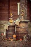 Decoración rústica de la boda fotografía de archivo libre de regalías