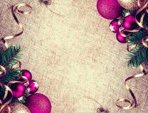 Decoración rústica del Año Nuevo de la Navidad Foto de archivo