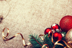 Decoración rústica del Año Nuevo de la Navidad Fotos de archivo libres de regalías