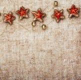 Decoración rústica del Año Nuevo de la Navidad Imagen de archivo libre de regalías