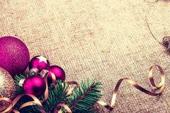 Decoración rústica del Año Nuevo de la Navidad Imagenes de archivo