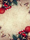 Decoración rústica del Año Nuevo de la Navidad Foto de archivo libre de regalías