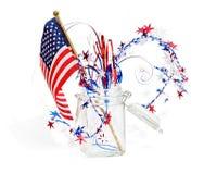 Decoración roja, blanca y azul patriótica Fotos de archivo libres de regalías