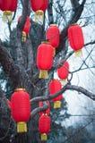 Decoración roja china de la linterna Imagen de archivo