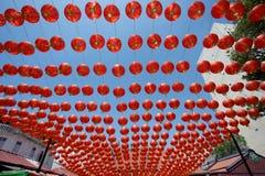 Decoración roja china de la linterna del Año Nuevo con el carácter FU Fotografía de archivo libre de regalías