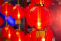 Decoración roja china de la linterna por Feliz Año Nuevo Fotografía de archivo libre de regalías