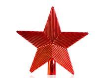 Decoración roja de la Navidad de la estrella para el top del árbol de navidad aislado Foto de archivo