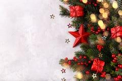 Decoración roja de la Navidad de la estrella imagenes de archivo