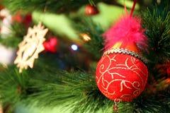 Decoración roja de la Navidad y del Año Nuevo en un árbol de abeto Fotos de archivo libres de regalías