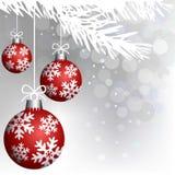 Decoración roja de las bolas de la Navidad Imagenes de archivo
