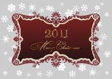 Decoración roja de los copos de nieve del marco 2011 de la Navidad Fotografía de archivo