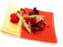 Decoración roja, de oro agradable de la Navidad Imagen de archivo libre de regalías