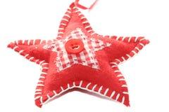 Decoración roja del árbol de navidad de la estrella del remiendo Imagen de archivo