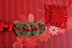 Decoración roja del lazo del tradtional del estilo chino Fotografía de archivo