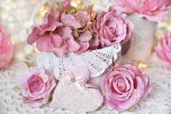 Decoración romántica para casarse o las tarjetas del día de San Valentín Fotos de archivo libres de regalías