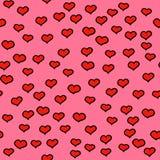 Decoración simple del modelo inconsútil de los puntos de los corazones Fondo del ornamento de los garabatos con los corazones Ilu Fotografía de archivo libre de regalías
