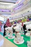 Decoración Snoopy de la Navidad APM en Hong Kong Foto de archivo