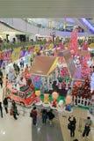 Decoración Snoopy de la Navidad de APM en Hong Kong Fotografía de archivo