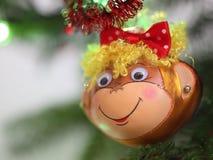 Decoración sonriente de la Navidad del mono Fotografía de archivo libre de regalías