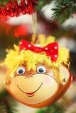Decoración sonriente de los chrismas del mono Imágenes de archivo libres de regalías